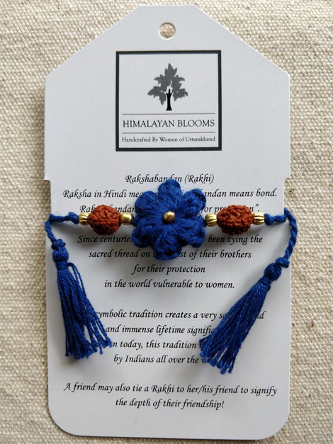 Blue Small Embozed Flower Rakhi with Rudraksha beads