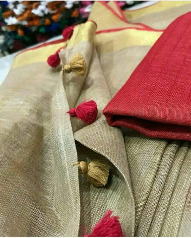 Golden/Beige Linen Saree