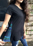 Black organic Tshirt with bright blue and purple lambani patch