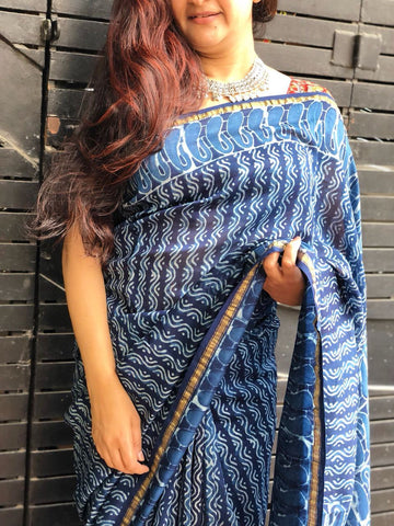 Indigo Wavy Handloom Chanderi cotton silk Saree
