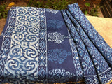 Aesthetic Indigo Handloom Chanderi  cotton silk Saree