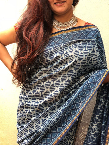 off-white with  Indigo hand printed Chanderi cotton silk Saree