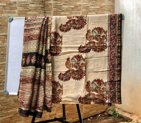 Beige with Black Zari border Kalamkari Sarees