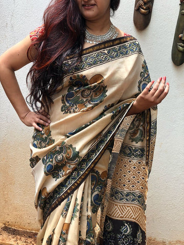 Beige with Black chanderi cotton silk Kalamkari Sarees