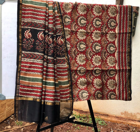 Red peacock designed Kalamkari Sarees