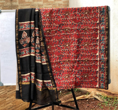 Red leaf designed Kalamkari Sarees