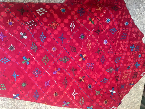 Lambani Embroidered red with overall small motif hand stitch