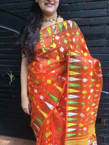 Orange intricate design Jamdani Bengal cotton saree