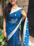Royal Blue and purple Bengal Handloom Saree