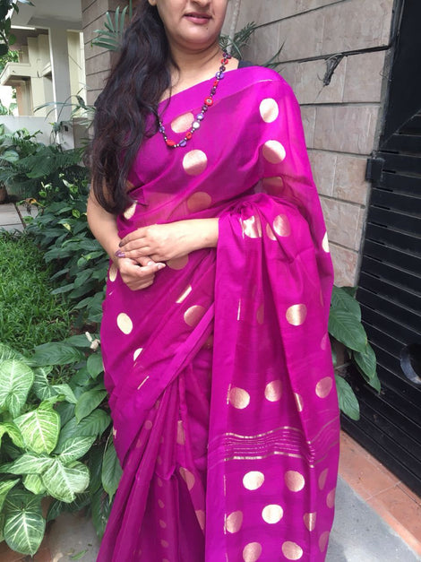 Magenta Bengal Cotton saree