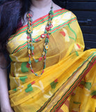 Radiant yellow Bengal resham silk saree