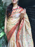 Off White and Maroon Bengal cotton saree