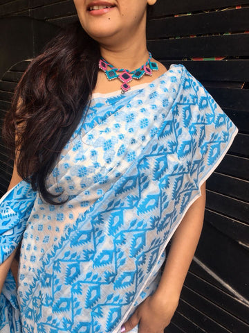 Blue with White Bengal Cotton Saree