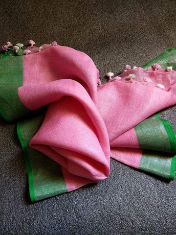 Baby Pink with Green Dupatta