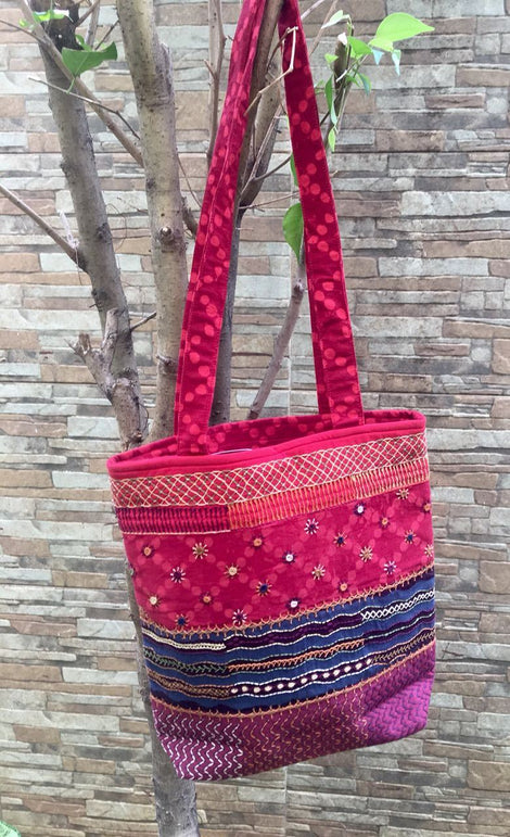 Red Embroidered Bag