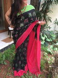 Black with Green & Red Border Butterfly design Ikkat Cotton Saree