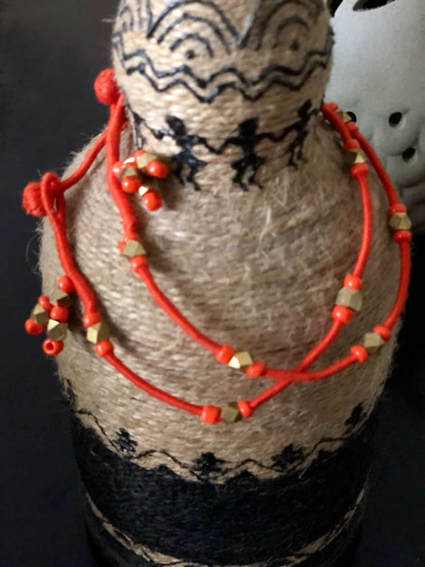 Orange beaded Anklets