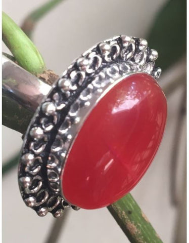red big natural cut stone ring