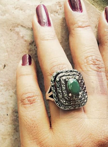 green natural cut stone ring