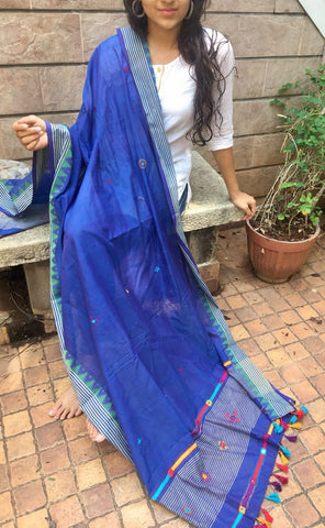 Blue Cotton Dupatta
