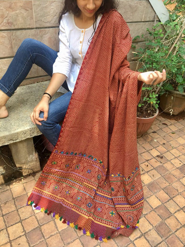 Maroon Cotton Dupatta