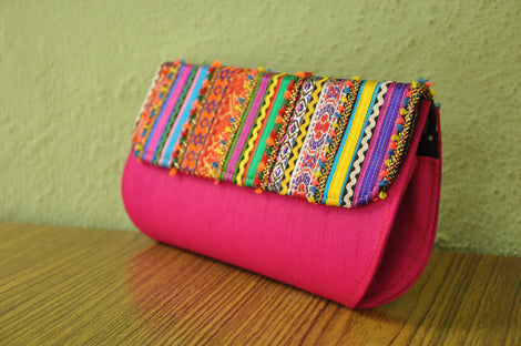 Pink Rabari Vibrant Clutch Purse for Women