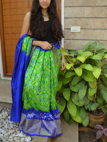 Green and blue silk lehenga with  choli and motifs