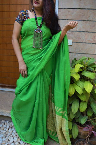 Parrot green cotton ghicha saree