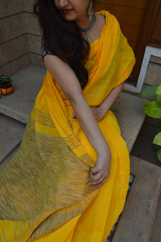 Bright Yellow cotton ghicha saree