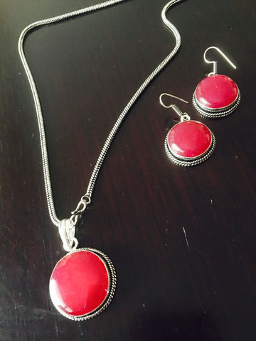 Silver toned Drop Pendant set with Red Cut stone & ear rings