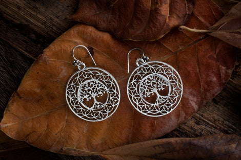 Oxidised Silver Tree designed  Dangler