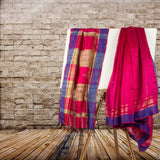 Pink colored Pure Bhagalpuri Tussar silk