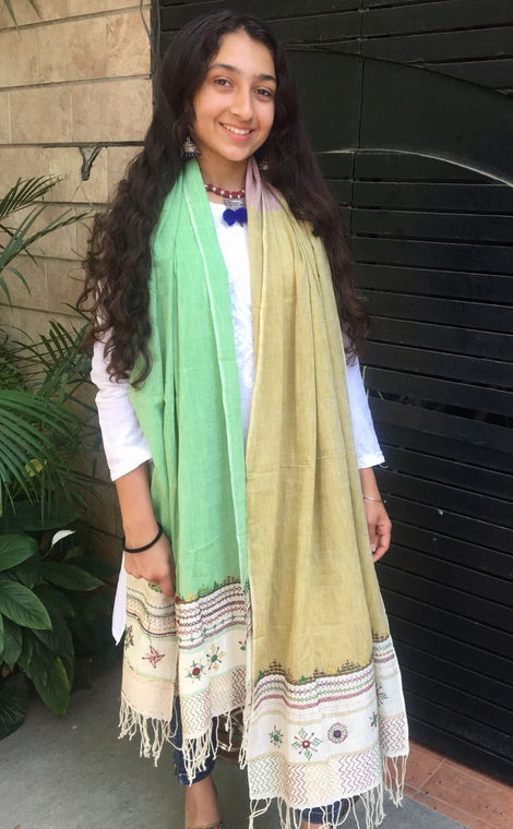 Light Green and Beige Cotton Dupatta