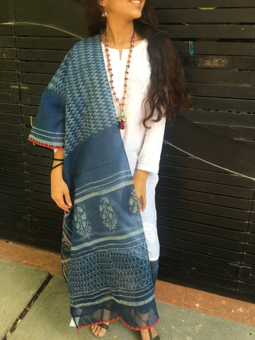 Indigo with Red Border Dupatta
