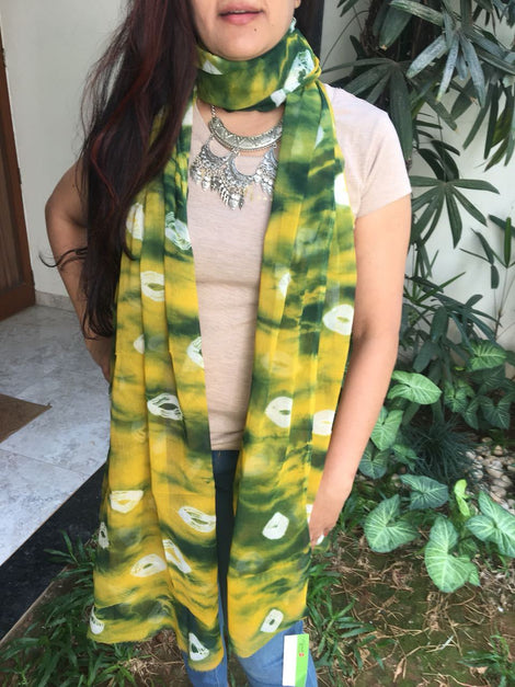 Yellow with Green Printed Dupatta