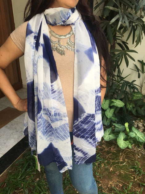 Blue with White Shibori Dupatta