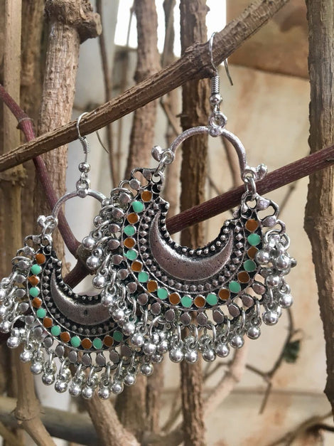 German Silver Ethnic Beaded Dangler Hook Earrings
