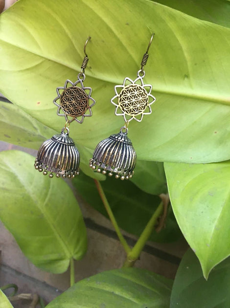 Floral Designer Dangler with Oxidized Silver Jhumkas Earrings