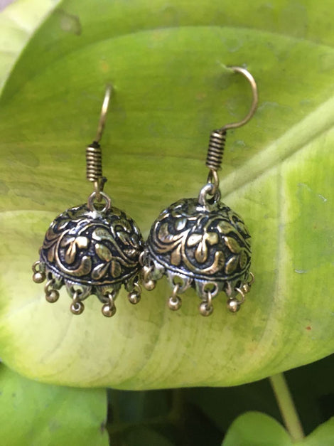 Oxidised German Silver Jhumkas