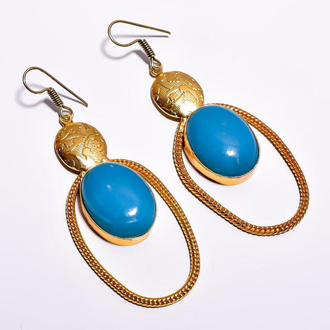 Stylish Oval Blue Cut Stone Earrings