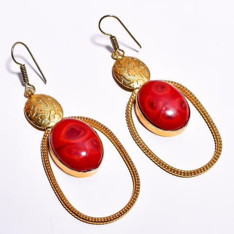 Stylish Oval Red Cut Stone Earrings