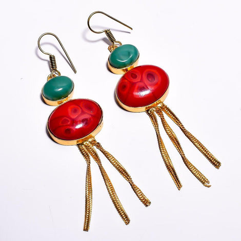 Stylish Red and Cyan Cut Stone Earrings
