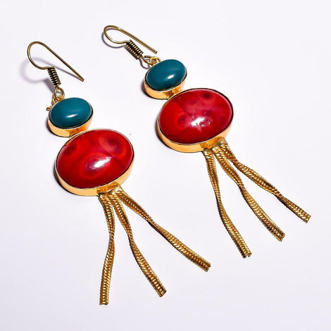 Stylish Red and Blue Cut Stone Earrings