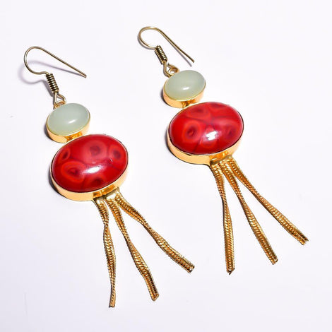 Stylish Red and White Cut Stone Earrings