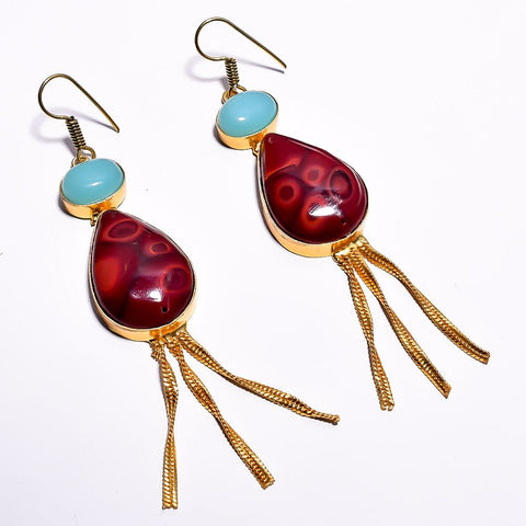 Stylish Maroon and Cyan Cut Stone Earrings