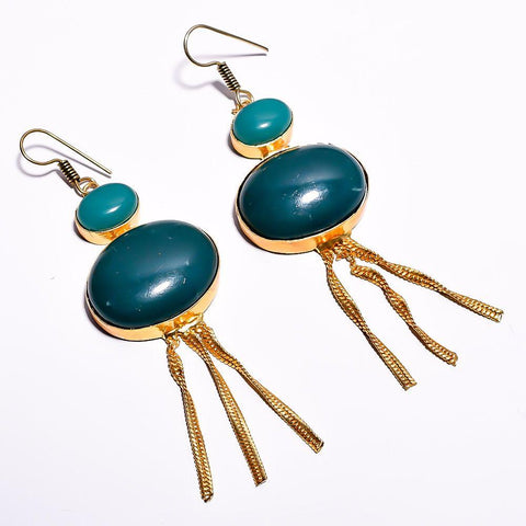 Stylish Blue and Cyan Cut Stone Earrings