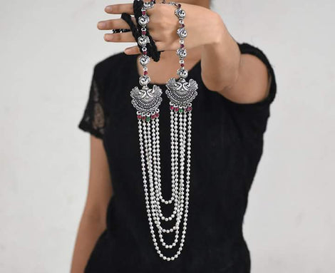 Long five layer haram Necklace set with earring