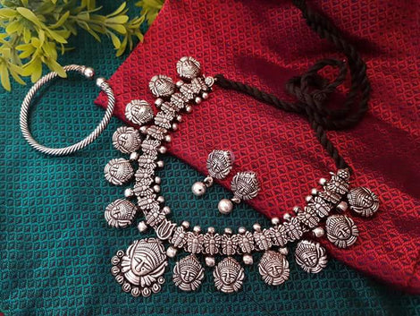 Ethnic  Durgama Necklace set with earring and nosepin
