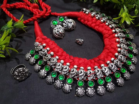 Green stone shells and peacocks necklace set with earring and nosepin