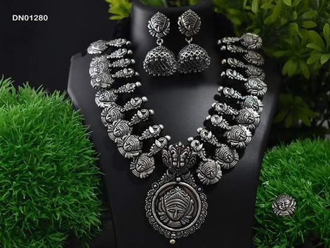 Classic Durgama Necklace set with earring and nosepin